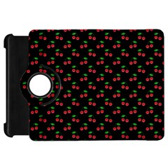 Natural Bright Red Cherries on Black Pattern Kindle Fire HD 7