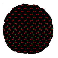 Natural Bright Red Cherries on Black Pattern Large 18  Premium Round Cushions