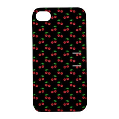 Natural Bright Red Cherries on Black Pattern Apple iPhone 4/4S Hardshell Case with Stand