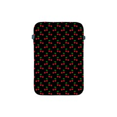 Natural Bright Red Cherries on Black Pattern Apple iPad Mini Protective Soft Cases