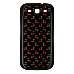Natural Bright Red Cherries on Black Pattern Samsung Galaxy S3 Back Case (Black)