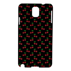 Natural Bright Red Cherries on Black Pattern Samsung Galaxy Note 3 N9005 Hardshell Case