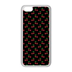 Natural Bright Red Cherries on Black Pattern Apple iPhone 5C Seamless Case (White)