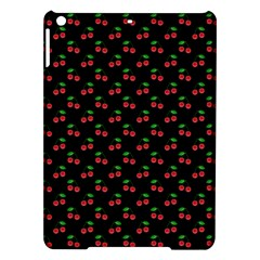 Natural Bright Red Cherries on Black Pattern iPad Air Hardshell Cases