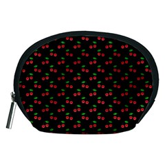 Natural Bright Red Cherries on Black Pattern Accessory Pouches (Medium)