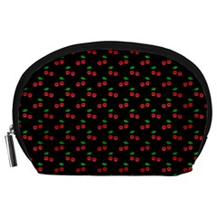 Natural Bright Red Cherries on Black Pattern Accessory Pouches (Large)