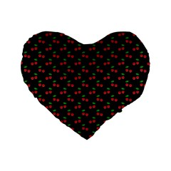 Natural Bright Red Cherries on Black Pattern Standard 16  Premium Flano Heart Shape Cushions