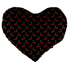 Natural Bright Red Cherries on Black Pattern Large 19  Premium Flano Heart Shape Cushions