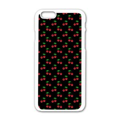 Natural Bright Red Cherries on Black Pattern Apple iPhone 6/6S White Enamel Case