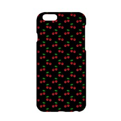 Natural Bright Red Cherries on Black Pattern Apple iPhone 6/6S Hardshell Case