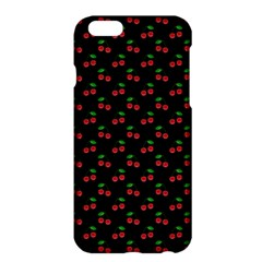 Natural Bright Red Cherries on Black Pattern Apple iPhone 6 Plus/6S Plus Hardshell Case