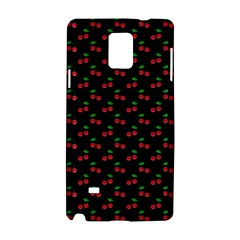 Natural Bright Red Cherries on Black Pattern Samsung Galaxy Note 4 Hardshell Case