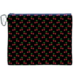 Natural Bright Red Cherries on Black Pattern Canvas Cosmetic Bag (XXXL)