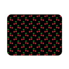 Natural Bright Red Cherries on Black Pattern Double Sided Flano Blanket (Mini)