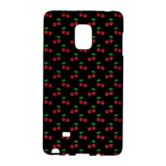 Natural Bright Red Cherries on Black Pattern Galaxy Note Edge
