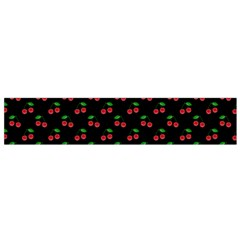 Natural Bright Red Cherries on Black Pattern Flano Scarf (Small)