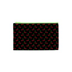 Natural Bright Red Cherries on Black Pattern Cosmetic Bag (XS)