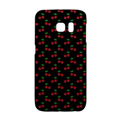Natural Bright Red Cherries on Black Pattern Galaxy S6 Edge