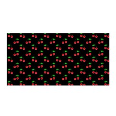 Natural Bright Red Cherries on Black Pattern Satin Wrap