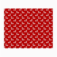 White Cherries On White Red Small Glasses Cloth (2-Side)