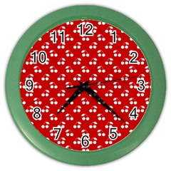 White Cherries On White Red Color Wall Clocks
