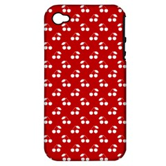 White Cherries On White Red Apple iPhone 4/4S Hardshell Case (PC+Silicone)