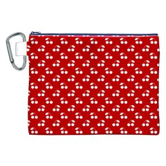 White Cherries On White Red Canvas Cosmetic Bag (XXL)