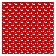 White Cherries On White Red Large Satin Scarf (Square)