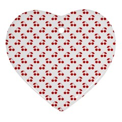 Red Cherries On White Pattern   Ornament (heart)