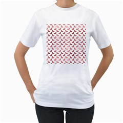 Red Cherries On White Pattern   Women s T-Shirt (White) (Two Sided)
