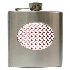 Red Cherries On White Pattern   Hip Flask (6 Oz)