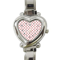 Red Cherries On White Pattern   Heart Italian Charm Watch