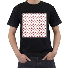 Red Cherries On White Pattern   Men s T-Shirt (Black) (Two Sided)