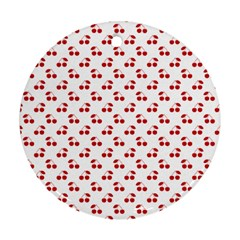 Red Cherries On White Pattern   Round Ornament (Two Sides)