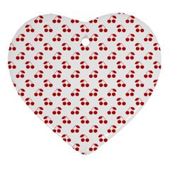 Red Cherries On White Pattern   Heart Ornament (Two Sides)