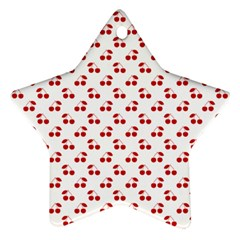 Red Cherries On White Pattern   Star Ornament (Two Sides)