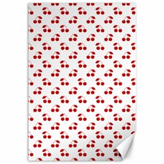 Red Cherries On White Pattern   Canvas 12  x 18