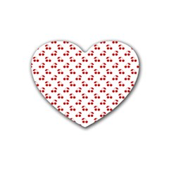 Red Cherries On White Pattern   Rubber Coaster (Heart)