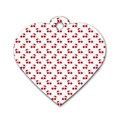 Red Cherries On White Pattern   Dog Tag Heart (Two Sides)