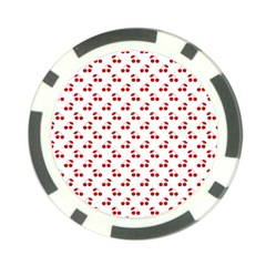 Red Cherries On White Pattern   Poker Chip Card Guard