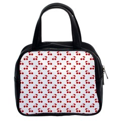 Red Cherries On White Pattern   Classic Handbags (2 Sides)