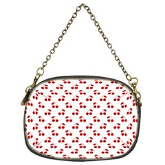 Red Cherries On White Pattern   Chain Purses (Two Sides)