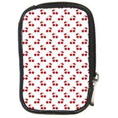 Red Cherries On White Pattern   Compact Camera Cases