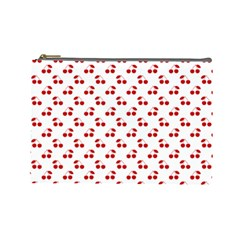 Red Cherries On White Pattern   Cosmetic Bag (Large)