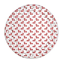 Red Cherries On White Pattern   Round Filigree Ornament (Two Sides)