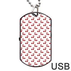 Red Cherries On White Pattern   Dog Tag USB Flash (One Side)