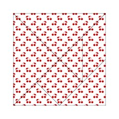 Red Cherries On White Pattern   Acrylic Tangram Puzzle (6  x 6 )