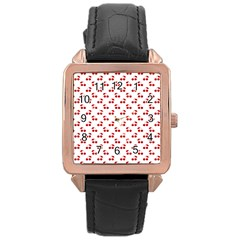 Red Cherries On White Pattern   Rose Gold Leather Watch