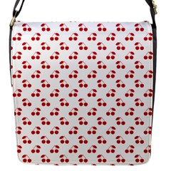 Red Cherries On White Pattern   Flap Messenger Bag (S)