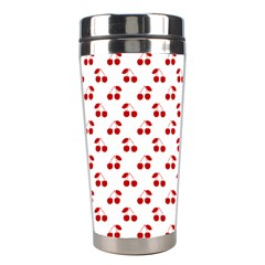 Red Cherries On White Pattern   Stainless Steel Travel Tumblers